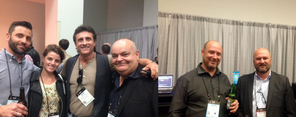 Pic 1: Paul Goldsmith (Galactic Music), Thalia and Dom Disisto (Holden Hill Music) and Chris Cumming (Galactic). Pic 2: Jamin Smedes (ABH) and Nathan Higgins (Yamaha Music)