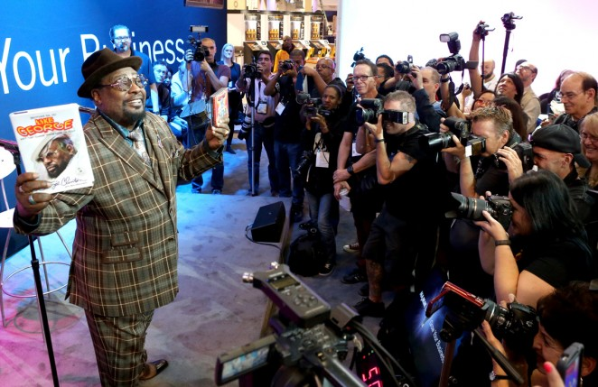 George Clinton flogging books. pic Getty images