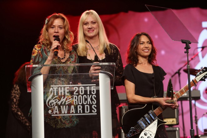 "Vicki Peterson, Debbi Peterson and Susanna Hoffs of ""The Bangles"" attend the 2015 National Association of Music Merchants show at the Anaheim Convention Center on January 23, 2015 in Anaheim, California.  (Photo by Jesse Grant/Getty Images for NAMM)"