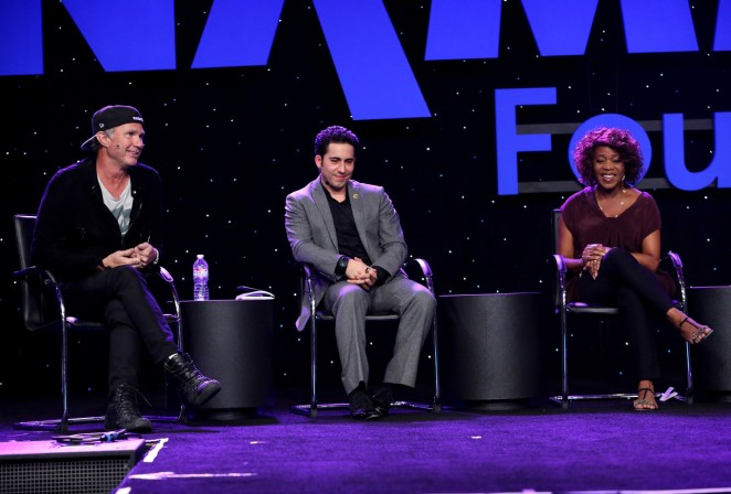 Drummer Chad Smith, actor John Lloyd Young, and actress Alfre Woodard attend the 2015 National Association of Music Merchants show at the Anaheim Convention Center on January 22, 2015 in Anaheim, California.  (Photo by Jesse Grant/Getty Images