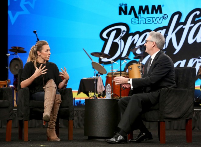 Musician Colbie Caillat attends the Breakfast of Champions at the 2015 National Association of Music Merchants show at the Anaheim Convention Center on January 22, 2015 in Anaheim, California.  (Photo by Jesse Grant/Getty Images for NAMM)