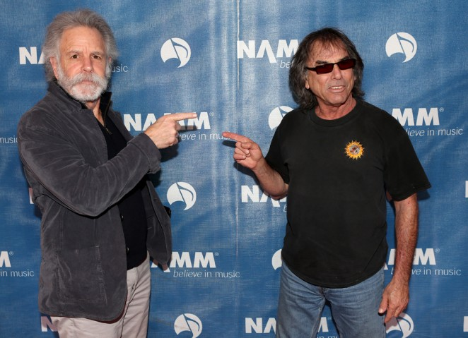 "Musicians Bob Weir and Mickey Hart  of the band ""The Grateful Dead"" attend the 2015 National Association of Music Merchants show at the Anaheim Convention Center on January 23, 2015 in Anaheim, California.  (Photo by Jesse Grant/Getty Images for NAMM)"