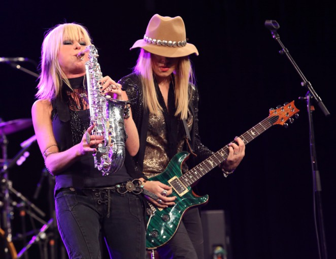 Saxophonist Mindi Abair and guitarist Orianthi attend the 2015 National Association of Music Merchants show at the Anaheim Convention Center on January 23, 2015 in Anaheim, California.  (Photo by Jesse Grant/Getty Images for NAMM)