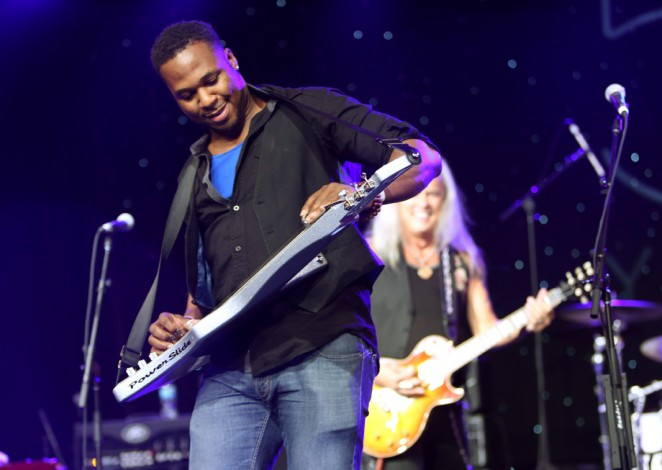Robert Randolph and Rickey Medlocke of the band Lynyrd Skynyrd perform at the 2015 National Association of Music Merchants show at the Anaheim Convention Center on January 22, 2015 in Anaheim, California.  (Photo by Jesse Grant/Getty Images for NAMM)