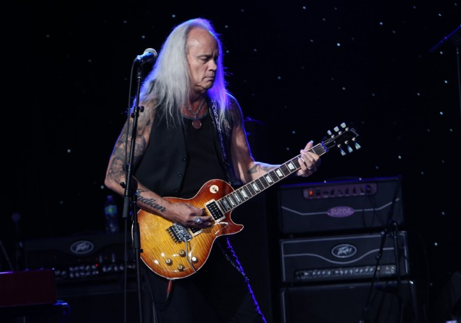 Rickey Medlocke of the band Lynyrd Skynyrd performs at the 2015 National Association of Music Merchants show at the Anaheim Convention Center on January 22, 2015 in Anaheim, California.  (Photo by Jesse Grant/Getty Images for NAMM)