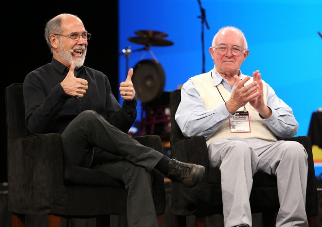 Dave Smith and Tom Oberheim attend the 2015 National Association of Music Merchants show at the Anaheim Convention Center on January 22, 2015 in Anaheim, California.  (Photo by Jesse Grant/Getty Images for NAMM)