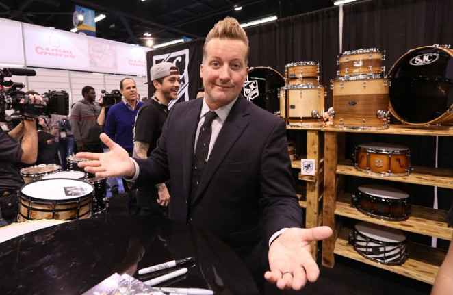 Drummer Tre Cool attends the 2015 National Association of Music Merchants show at the Anaheim Convention Center on January 24, 2015 in Anaheim, California.  (Photo by Jesse Grant/Getty Images for NAMM)