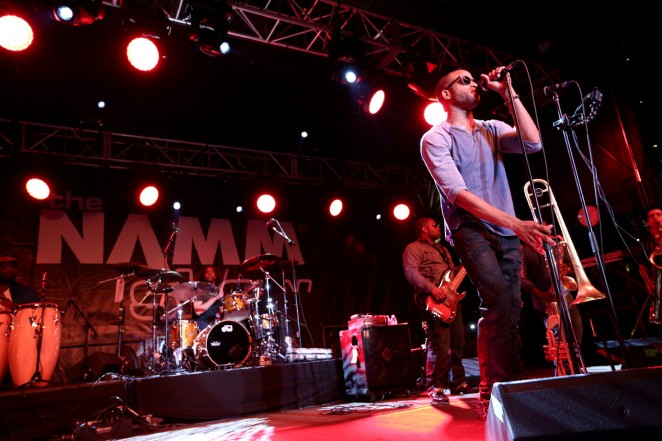 """Musician Troy """"Trombone Shorty"""" Andrews performs at the 2015 National Association of Music Merchants show at the Anaheim Convention Center on January 22, 2015 in Anaheim, California.  (Photo by Jesse Grant/Getty Images for NAMM)"""