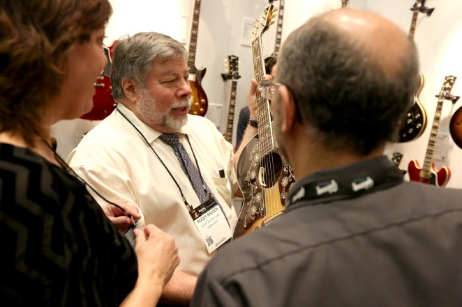 Engineer Steve Wozniak attends the 2015 National Association of Music Merchants show at the Anaheim Convention Center on January 24, 2015 in Anaheim, California.  (Photo by Jesse Grant/Getty Images for NAMM)