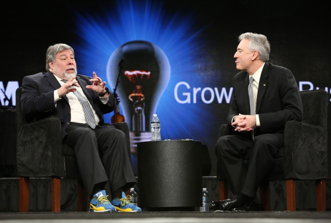 Engineer Steve Wozniak and NAMM President and CEO Joe Lamond attend the 2015 National Association of Music Merchants show at the Anaheim Convention Center on January 24, 2015 in Anaheim, California.  (Photo by Jesse Grant/Getty Images for NAMM)