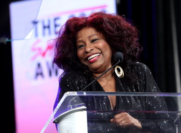 Singer Chaka Khan speaks on stage at the She Rocks Awards during day 2 of the 2016 NAMM Show at the Anaheim Hilton on January 22, 2016 in Anaheim, California. (Photo by Jesse Grant/Getty Images for NAMM)